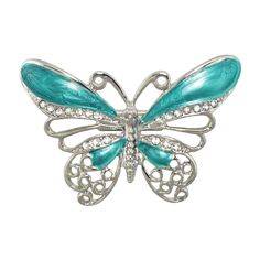 Hermosa Turquoise Enamel Butterfly Silver Tone Scarf Clip