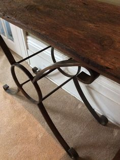 An Italian inspired table created from black painted metal combined with weathered salvaged barn boards. Barn Boards, Painted Metal, Metallic Paint, Repurposed, Tables, Inspired, Inspiration, Furniture, Beautiful