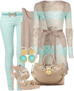 """mint jeans and long cardigan"" by missyalexandra ❤ liked on Polyvore"