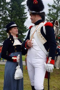 Militarized riding dress (with grenadier of Imperial Guard)