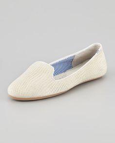 Lizette Python-Embossed Slip-On Loafer, White by Charles Phillip Shanghai at Neiman Marcus.