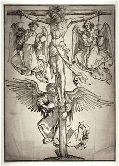 Christ on the Cross with Three Angels, 1525 by Albrecht Durer (1471-1528, Italy)