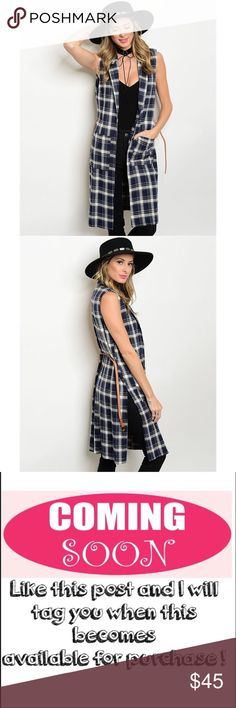 """Sleeveless plaid top Sleeveless open front long plaid vest (no buttons)  with skinny belt. Has two pockets on the front and a slit up each side of the vest. Fabric Content: 95% COTTON 5% POLYESTER. measurements for a size small: B:17"""" L:38"""". ONLY CONSIDERING OFFERS THROUGH THE """"OFFER"""" BUTTON. No trades, no off App transactions. Any questions can be addressed below. Available: 2 Small, 2 Medium, 2 Large. Tops"""