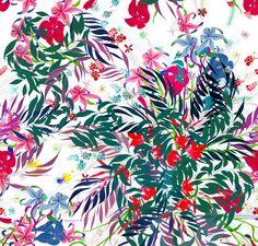 Papel pintado de flores y colores, veraniego y floral.
