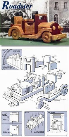 Wooden Roadster Plan - Children's Wooden Toy Plans and Projects Wooden Toy Trucks, Wooden Car, Wooden Toys, Wood Projects For Kids, Kids Wood, Woodworking Toys, Woodworking Projects, Wood Toys Plans, Wood Creations