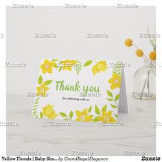 Create your own unique greeting on a Baby Shower card from Zazzle. From birthday, thank you, or funny cards, discover endless possibilities for the perfect card! Appreciation Cards, Baby Shower Thank You Cards, Personalized Note Cards, Thank You Notes, Florals, Create Your Own, Place Card Holders, Templates, Yellow