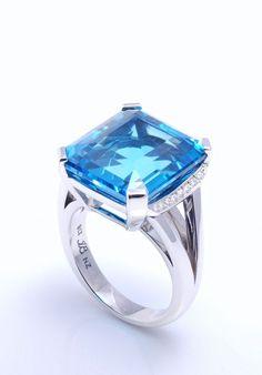 Blue topaz, custom design dress ring set in 9 ct white gold with diamonds Custom Jewelry Design, Custom Design, New Zealand Jewellery, Dress Rings, Auckland, Blue Topaz, Fine Jewelry, White Gold, Wedding Rings