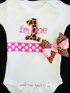 Size 12-18  months ready to ship only Sweet Pink Giraffe Frills first birthday monogrammed short sleeved  bodysuit for baby girl toddler. $34.00, via Etsy.