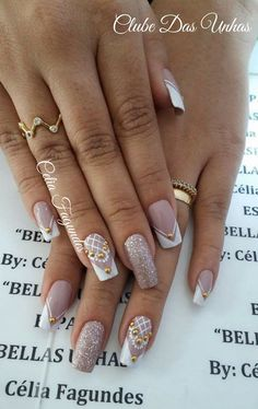 As melhores decorações de Unhas artísticas para 2017 Stylish Nails, Trendy Nails, Cute Nails, Fabulous Nails, Perfect Nails, Bridal Nails, Wedding Nails, Romantic Nails, Stamping Nail Art