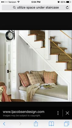 18 Useful Designs for Your Free Under Stair Storage Take advantage of unused space under the basement stairs with these inexpensive (and DIY! Under Stairs Nook, Open Basement Stairs, Basement Apartment, Basement Plans, Basement Ideas, Basement Bathroom, Apartment Ideas, Basement Gym, Basement Designs