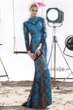 Alyce Claudine 2441 Sheer Lace Mermaid Dress-High neck long sleeve allover sheer lace fitted long mermaid gown with train. Sherri Hill Prom Dresses, Prom Dresses 2015, Plus Dresses, Modest Dresses, Bridesmaid Dresses, Dresses With Sleeves, Bridesmaids, Evening Dresses, Formal Dresses