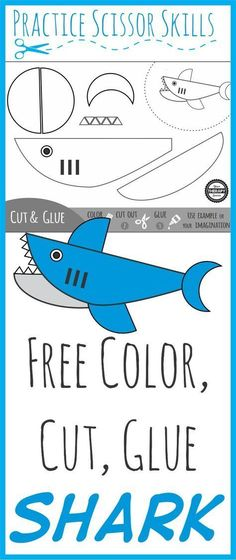 Color Cut Glue Shark - Just in time for #sharkweek Practice scissor skills, coordination skills, coloring, motor planning and sequencing all with this shark freebie from Your Therapy Source