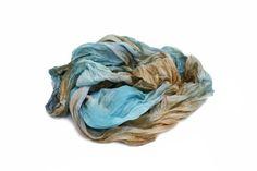 blue silk scarf  Louvre     blue brown silk scarf. by valezhki