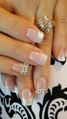 American tips #natural #pearl #manicure #acrylic #bridal
