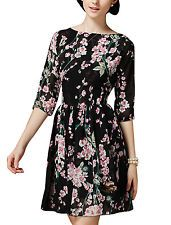 Allegra K Women 3/4 Sleeves Round Neck Floral Print Above Knee Skater Dress