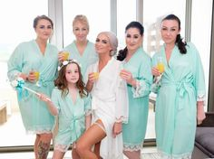 The Little Lovebird Real Brides wearing the Lacie Mint Robes bride robe 3f0fbc915