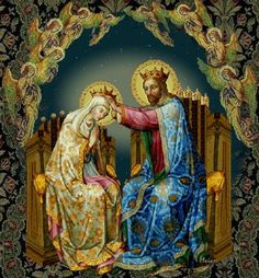 a grey haired Virgin Mary being crowned Queen of heaven and earth by her grown son, Jesus Christ.