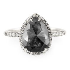 2.36 Carat Black Pear Rose Cut Diamond Engagement Ring, Fiona Setting, Recycled 14k White Gold