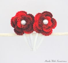for your little #Princess - Shades of #Red Flower Hand Crocheted Hair Clip by MadeWithSweetness on #Etsy