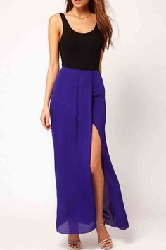 $34.99   Front Slit Chiffon Maxi Skirt   Psychedelic Monk