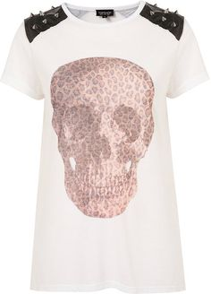 Topshop Stud Leopard Skull Tee in White...wish I had this for Halloween!
