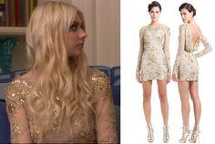 Gossip Girl series finale: Jenny's (Taylor Momsen) long sleeved gold dress by Zuhair Murad #getthelook #gossipgirl