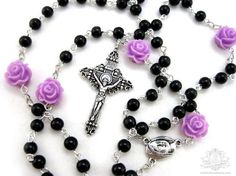 I want to use roses.....Advent Rose 5 decade rosary necklace black by OohlalaBeadtique, $32.00