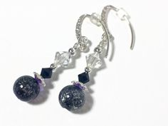 Black Beaded Beauty Swarovski Dangle Earrings.  Absolutely stunning!  $23.00  Find this & more at www.wiredboutique.etsy.com