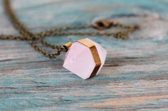 Banded Rose Quartz Necklace  Brass by GATHERJEWELRY on Etsy, $ 56.00