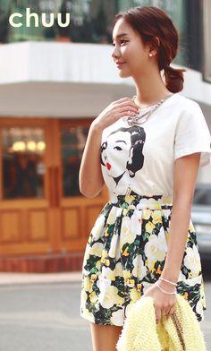 Big Floral Pattern Pleated Skirt -- $40.00 USD
