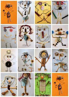 Bri-coco de Lolo: De bric et d'broc Such a great Reggio Inspired activity!Self portrait using bits of scrap and materialsRubrikabrac - On est bien chez lauretteArt for kids Kindergarten Art, Preschool Art, Art For Kids, Crafts For Kids, Arts And Crafts, Classe D'art, Ecole Art, Nature Crafts, Recycled Art
