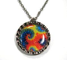 Tie dye bottle cap necklace chain included by VivaVegaBoutique, $7.00  https://www.etsy.com/listing/102128091/tie-dye-bottle-cap-necklace-chain