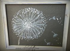 Recycled screen Dandelion Painting Dandelion by RebecaFlottArts