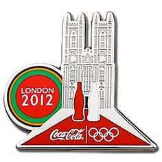 London Olympic Coca-Cola Pin - Landmark Westminster Abbey - rare Olympic pins with very limited stock left! Every pin collector will want these great Coke Olympic pins