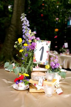 Bright Wildflower and Vintage Accent Centerpieces