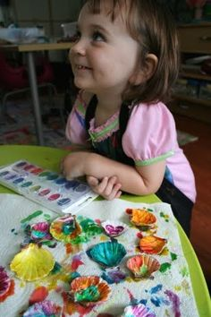 Kids Crafts -Painted Shells in Wild Colors