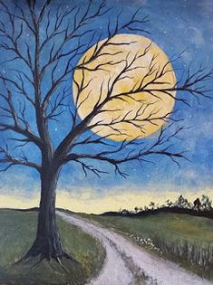 Walking by Moonlight Walking at night with a bright moon gives me a eerie, yet calm feeling. My dad loved to sit outside especially if there was a moon out. Painted on a stretched canvas. Landscape Paintings, Watercolor Paintings, Canvas Paintings, Basic Painting, Winter Painting, Cool Art Drawings, Wall Drawing, Diy Canvas Art, Kids Canvas