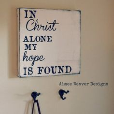 "Image of Handpainted Canvas ""In Christ Alone"" 12x12"
