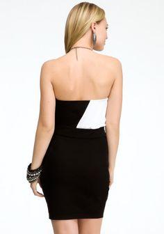 Colorblock Chain Halter Dress 2