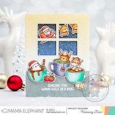 mama elephant | design blog: STAMP HIGHLIGHT: Hot Cocoa Christmas Night, Christmas Cards, Food Stamp Card, Mama Elephant Stamps, Santa And His Reindeer, Holiday Messages, Elephant Design, Little Gifts, Cocoa