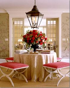 round skirted table and lantern...great entry!!