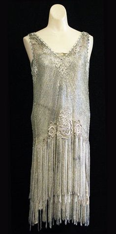 Silver beaded metallic lace evening dress, c.1925, from the Vintage Textile archives.