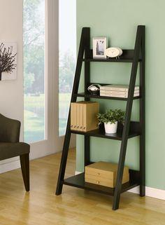Hokku Designs Tahoe Four-Shelves Ladder Style Bookcase / Display Cabinet in Black 4 Shelf Bookcase, Bookshelves, Accent Furniture, Home Furniture, Office Furniture, Furniture Ideas, Furniture Design, Leaning Ladder Shelf, Contemporary Bookcase