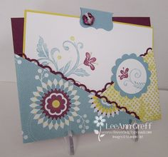 A diagonal pocket card using this stamp set along with the Floral District designer series paper.  Colors here are Baja Breeze, Daffodil Delight with Razzleberry.  SU LeeAnn Greff