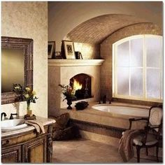 a fireplace in my bathroom!