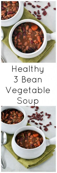Make this healthy and filling 3 Bean Vegetable Soup. Made from a handful of ingredients you probably already have on hand. Vegan and gluten free.