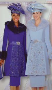 Cercula Blue, Royal Blue (Elite 3pc PeachSkin With Fox Fur Collar And Cuffs Women's Suit)