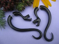 """Hi Everyone, Bad ass snakes! Hanging from your ear holes!! Faux gauged earrings give you a convincing stretched or """"gauged"""" look without the pain,"""