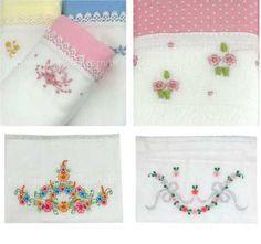 Fraldas de pano para enxoval de bebê floral (com bordados de flores). Trabalhos de artesãos do Nordeste! Clique na foto para sabe mais!  Foto: loja virtual Xique Xique Brasil