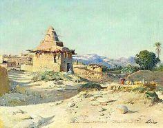 Peinture d'Algérie - Peintre Français, Maxime NOIRÉ (1861-1927), huile sur toile, Titre : Paysage animé.